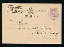 GERMANY SEIFHENNERSDORF VFU BOXED 1882 WURTTEMBERG STATIONERY THAILFINGEN PMK