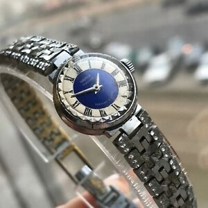 USSR Women's Watch CHAIKA Bicolored Blue Silver Small Vintage Bracelet TESTED SU