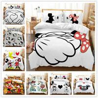 3D Cartoon Mickey Minnie Doona Duvet Cover Queen Quilt Cover PillowCase