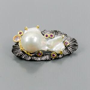 Vintage Baroque Pearl Brooch Silver 925 Sterling  /NB10336