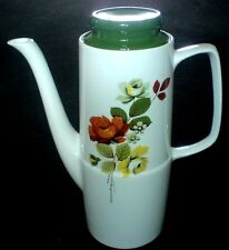 BRITISH ANCHOR CHARTWELL Red/Yellow Rose Detail Coffee Pot c1960 9 1/2 in high