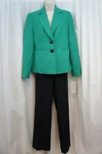 "Evan Picone Pant Suit Sz 14 Emerald Black ""Madison Ave"" Career Business Suit"