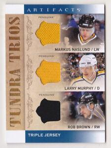 14-15 Artifacts Larry Murphy Rob Brown Markus Naslund Jersey Trios Penguins 2014