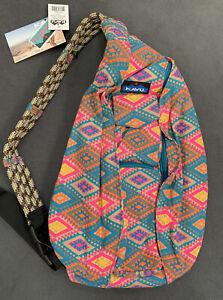 NWT KAVU Rope Sling Bag Crossbody Backpack Rhombus Rug Moroccan Travel Hike Fit