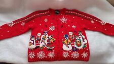 Ugly Christmas Sweater Knitted Santa Snowmen Snowflakes Beads Button Size M Red