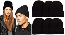 Lot of 6 Beanie Mens Womens BLACKS Winter Cuffed Knit Beanies Hats Cap Caps
