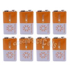 8 pcs 9V Volt Super Heavy Duty Carbon-Zinc Battery Cell 6F22 Block Naccon
