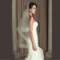 Soft White/Ivory Wedding Veils Fingertip Length Bridal Bride Ribbon Edge Newest