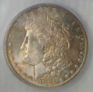 MS 67 ~ 1881 S Morgan Silver Dollar, AWESOME RAINBOW TONING, NICE!
