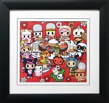 "Tokidoki ""Chow Time"" Framed Art Simone Legno Japanese Inspired Sushi New"