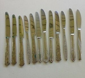 Vintage Stainless Steel Butter Knives lot of 12 Mixed Ornate Designs 1960's