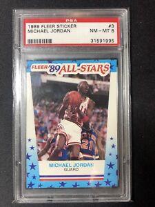1989 FLEER STICKER #3 ALL STARS MICHAEL JORDAN PSA 8