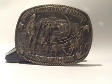 NRA WHITTINGTON CENTER RATON, NEW MEXICO BRASS BUCKLE 3 3/4x2 3/4 MADE IN U.S.A.