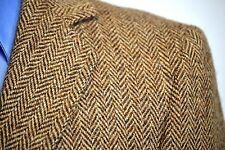 Vtg Harris Tweed Mens Wool Herringbone Blazer Brown Sport Coat Jacket Sz 38S
