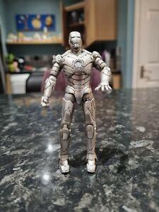 "2010 Hasbro Marvel 3.75"" Silver Iron Man Mk II Posable Plastic Toy Figure"