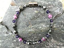 Rain Jasper Magnetic Hematite Bracelet Anklet Necklace with Purple Swarovski