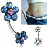 1pcs Crystal Flower Dangle Navel Belly Button Ring Bar Body Piercing Jewelry