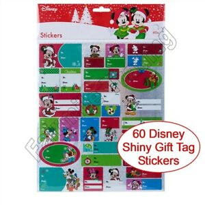 60 Disney Christmas Gift Tag Stickers Labels Present Name Mickey Minnie Mouse