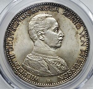 5 Mark 1913 A Wilhelm II German States PRUSSIA Rare Grade !! MS64 / PCGS!!