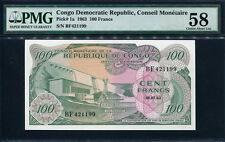 Congo Democratic Republic 1963, 100 Francs, P1, PMG 58 UNC