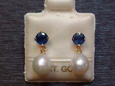 Exclusive Saphir & Perlen Ohrstecker - 14 Kt. Gold - 585 - Ohrringe - sehr edel