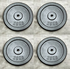 """4 x 20Kg Weight Discs, Cast Iron, 1"""" clearance hole, Plates for 1"""" Bars"""