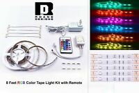 8 ft RGB COLOR TAPE LIGHT KIT with Remote - Easy to Install! Adhesive Included