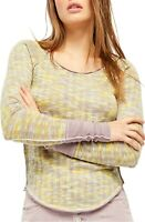 Free People Top Space Out Long Sleeve Slub Knit Women Multi Sz S NEW NWT 453