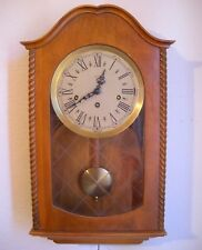 Vintage Hanging Wall Clock Made in Germany 4 chimes Walnut Frame 22.5 x 13 1/8""