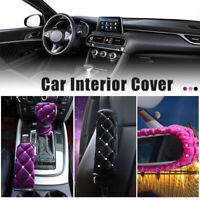 Bling Shiny Car Seat Belt Handbrake Cover Gear Speed Shift Knobs Cover Protector