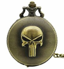 Marvel's The Punisher Logo Bronze Finish Pendant Pocket Watch