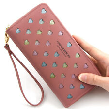 Women's Cute Heart Leather Long Clutch Wallet Fashion Zipper Credit Card Holder