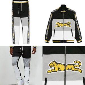 Le Tigre LOGO Black White Gray Gold Track Jacket AND Track Pants Men's Sz Large