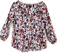 GAP Womens Floral Boho Peplum 3/4 Baloon Sleeve Shirt Blouse Sz:S