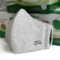 VECO Antimicrobial Breathable Washable Cotton Fabric Face Masks (Adult,  Grey)