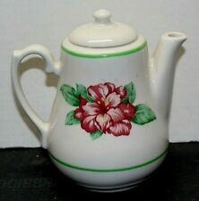 Small Individual Teapot white w/ pink flower and green rim  Made in USA