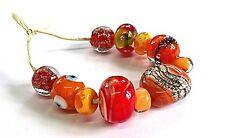 """Handmade Lampwork Perles en verre """"orange/rouge mix"""""""