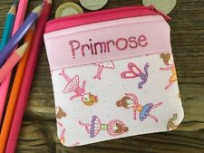Handmade personalised kids childrens ballerina dancer purse wallet for boy girl