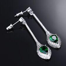 Lady Silver Gold Filled Green Emerald Crystal Long Drop Dangle Earrings Jewelry