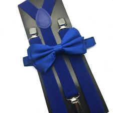 Royal Blue Suspender + Clip on Bow-Tie Matching Set for Adults Men Women