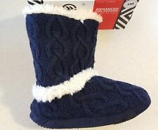 NWT Isotoner Women's SMALL 5-6 Faux Fur Boot Slippers IN / OUTDOOR Navy #21317