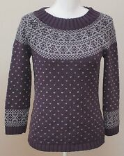 Talbots Sweater Purple Fair Isle Cotton 3/4 Sleeve Size Petite Small SP PS