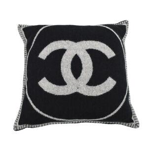 CHANEL CC Logos Pillow Cushion Cover Gray Black 90% Wool 10% Cashmere K08219k