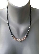 Halskette +Armkette+Ohrringe Hämatit(BlutStein) 3 er Set  mit Perlen in Pink