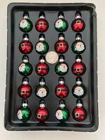 Glass Christmas Ornaments Miniature Box Set of 20 Santa