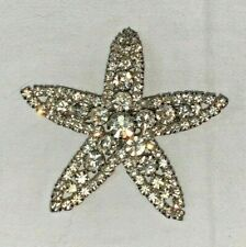 Vgc - Offers - Comb P&P Bold Silver Tone Crystal Starfish Broach -