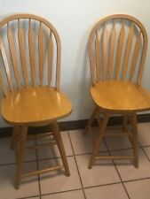 2 (Two) Vintage Wood Pressed Back Swivel Kitchen Chairs Bar Stools Island Chairs