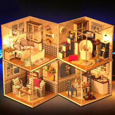 4pcs Kits Wood Dollhouse Miniature DIY House Room with Furniture+Cover Warm Home