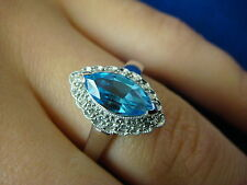"""NICE BLUE TOPAZ MARQUISE AND """"HALO"""" OLD CUT DIAMONDS LADIES RING 3.4 GRAMS"""