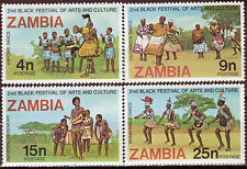 ZAMBIA 1977 2nd WORLD BLACK AND AFRICAN FESTIVAL Sc162-65 COMPLETE MNH SET 2002